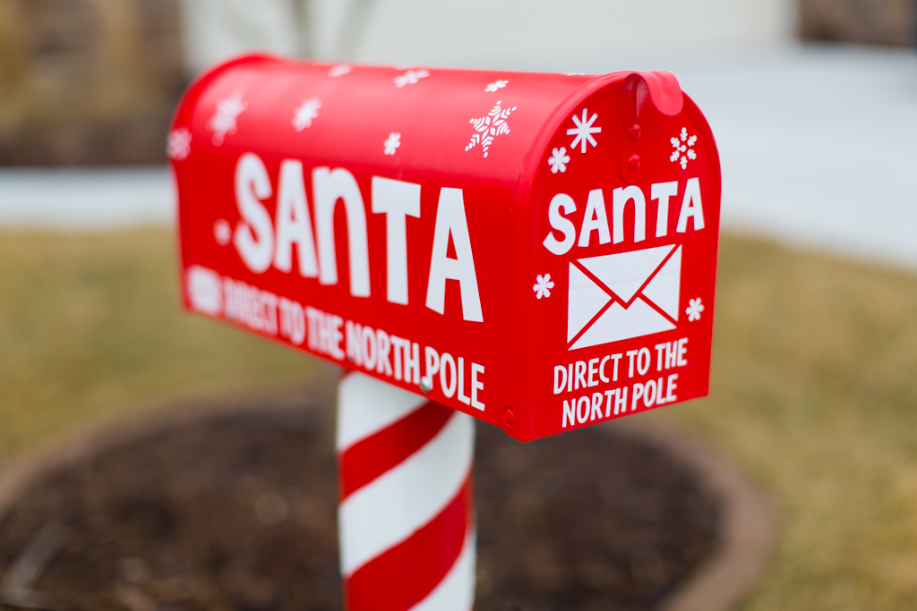 American made mailbox, just for Santa. Painted Santa sleigh red, with ...
